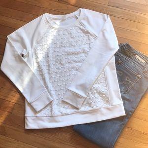 White Textured Gap Crewneck Sweatshirt